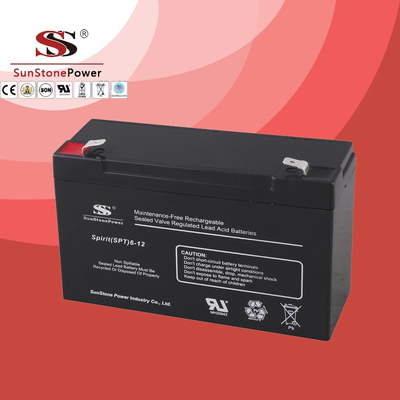 SPT Series 6V12AH Sealed Maintenance Free VRLA/SLA AGM Battery for UPS